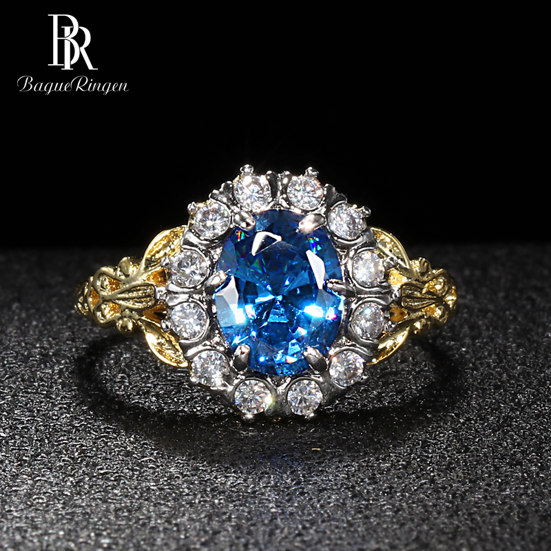 Bague Ringen Oval Gemstones Ring For Women Simple Silver 925 Jewelry Aquamarine Fashion Flower Shaped Size6,7,8,9,10 Anniversary