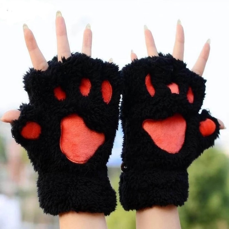 Gloves 1 Pair Women Girls Lovely Fluffy Bear Cat Plush Paw Claw Half Finger Gloves Mitten Winter Warm Fingerless Gloves Xew