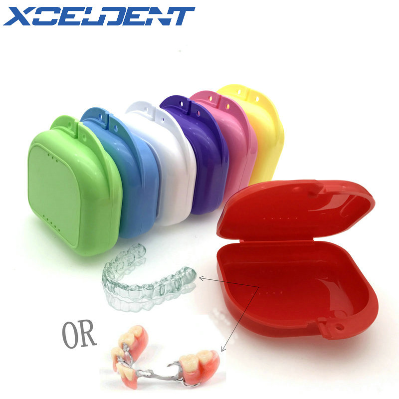 1pc Denture Storage Case Dental Orthodontic Retainer Box Mouthguard Container Supplie Tray Dentistry Supplies 6 Colors Optional