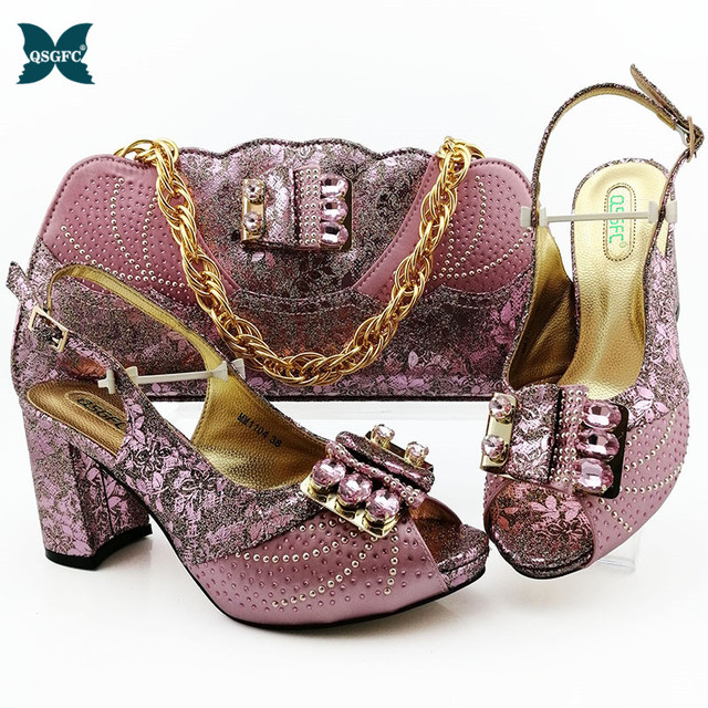 2020 Newest Italian design Shoes with Matching Bags African fashion Pattern style Nigerian Women high heel for wedding and party