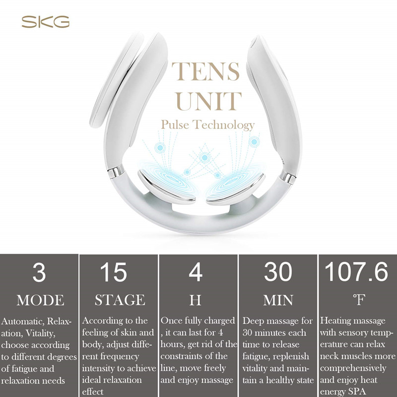 SKG Smart Electric Neck Massager Heating Pain Relief Tool 3D Wireless Deep Tissue Body Massage Health Care Relaxation For Travel - 3