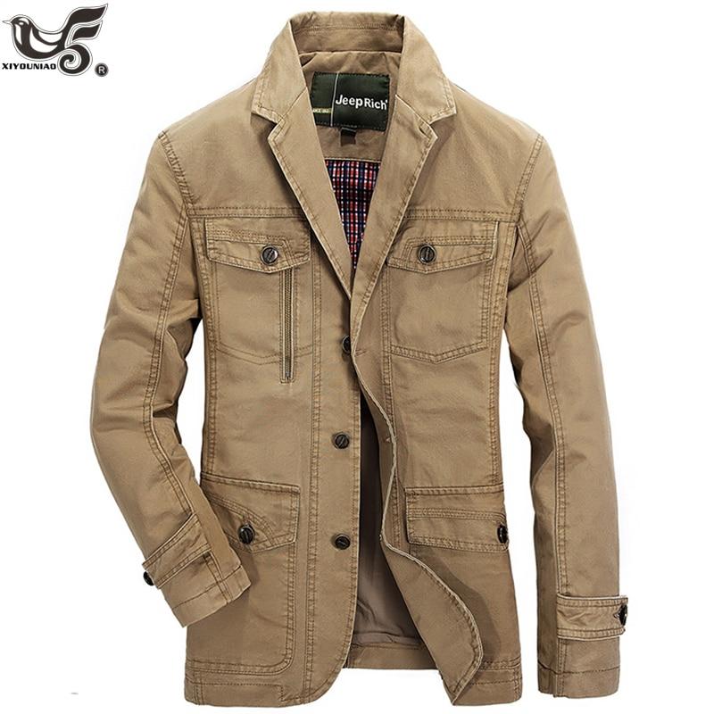 New Casual Denim Jacket Men 100% Cotton Business Coat Male Brand Clothing Stylish Autumn Winter Suit Blazer Jean Jacket Man