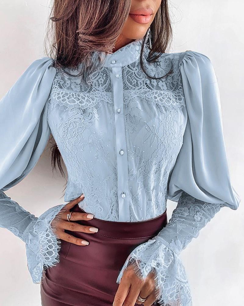 Women Lace Patchwork Stand Neck Lace Blouse Autumn Winter Long Sleeve Work Shirt Puff Sleeve Office Workwear Solid Tops