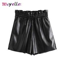 цены High Waisted Shorts for Women Stylish Black Drawstring Tie Elastic Waist Shorts 2019 Pockets Casual Chic Solid Female Shorts
