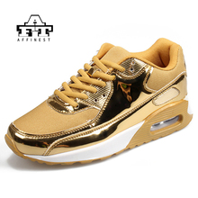 Mesh Sneakers Athletic-Shoes Gym Trainers Silver Women Golden Air-Cushion Soft Breathable