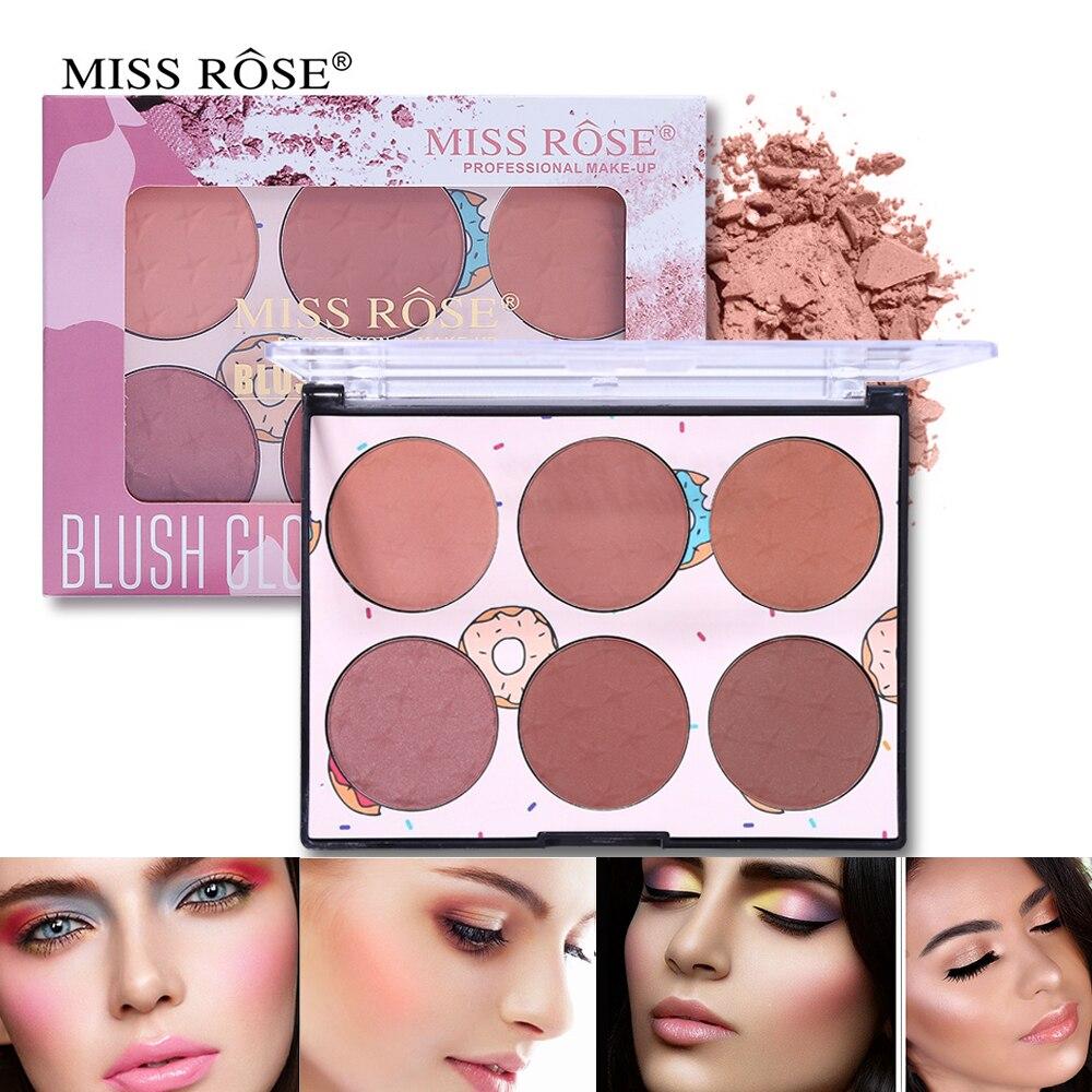 6 Color Miss Rose Blush Glow Kit Face Powder Blusher Palette Makeup Contour Palette Maquillage Facial Cosmetics