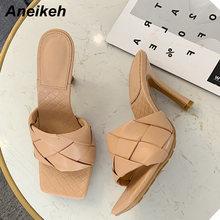 Aneikeh/Новый шлёпанцы женские тапочки 2020 Лето квадратный