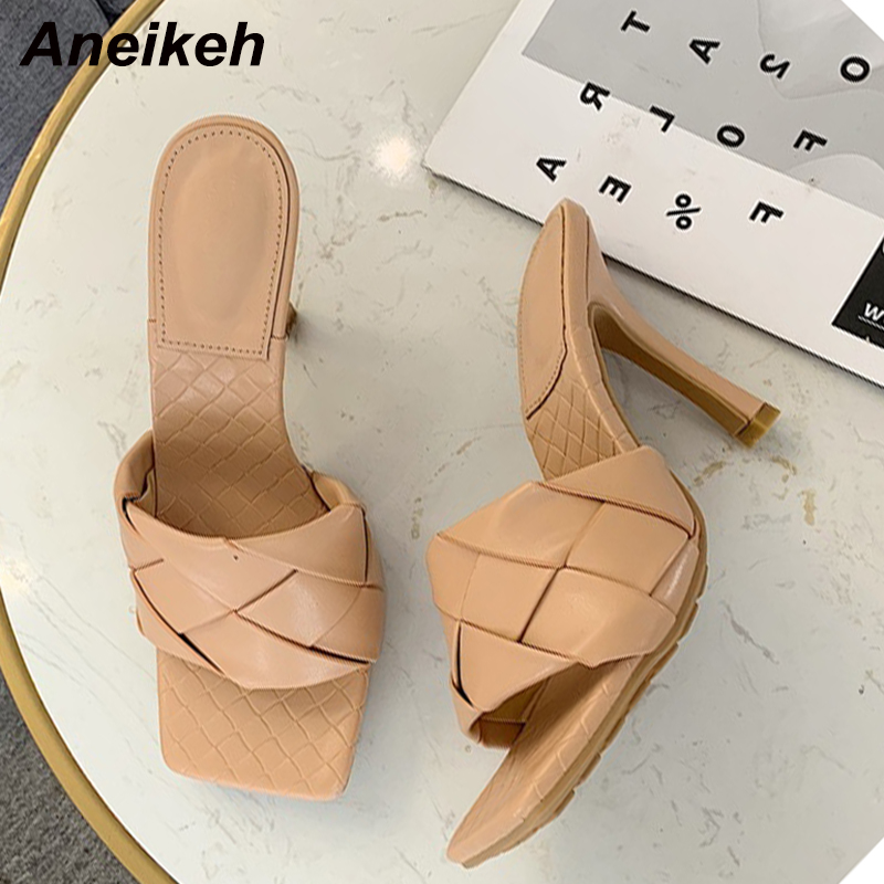 Aneikeh New Mules Women Slipper 2020 Summer Square Toe High Heel Ladies Sandal Weave High Quality Stiletto Dress Shoes Slides