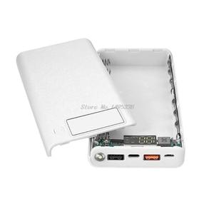 Image 2 - QC 3,0 Dual USB + tipo C PD 5V/3A 8x18650 batería DIY banco de energía caja de luz LED Cargador rápido para teléfono celular tableta