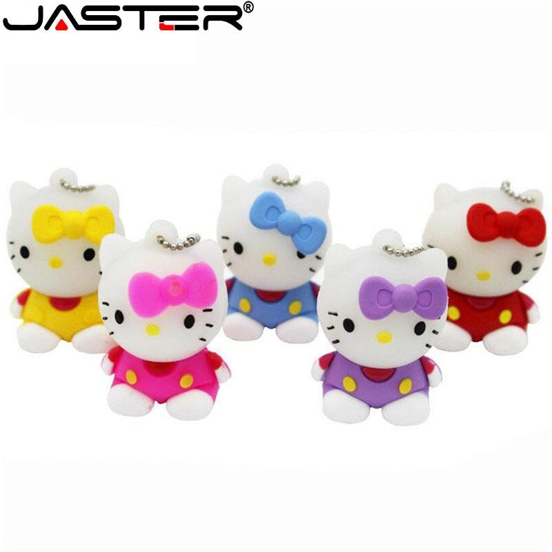 JASTER Hello Kitty Cartoon USB Drive Flash Drive 4GB 16GB 32GB 64GB  USB2.0 Memory Stick Fashion Gift