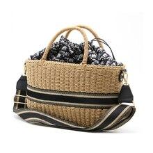 2021 Summer Women Handbags The New Paper Rope Drum Woven Bag One Shoulder Straw Bag Luxury Handbags Women Bags Designer