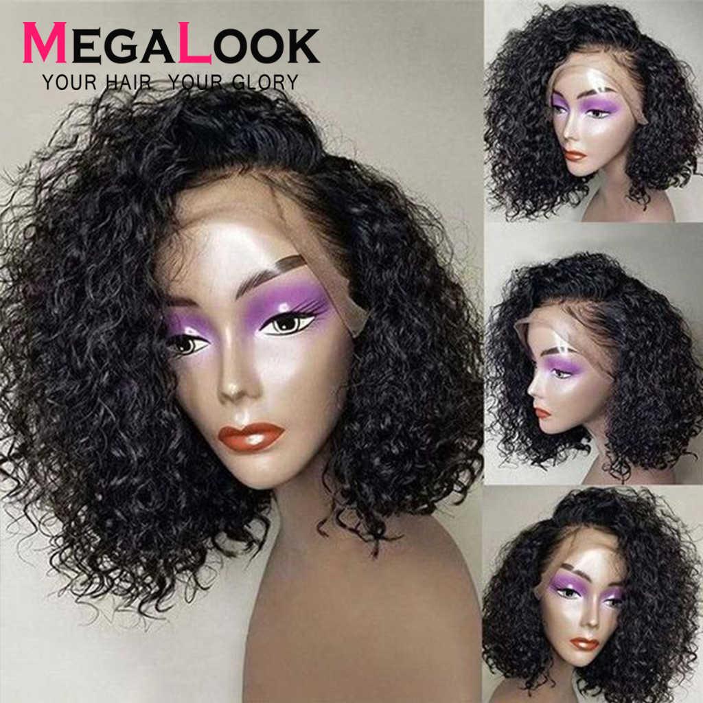 Парик с волнистыми волнами 13x6, парик с короткой волной, парики из натуральных волос, бразильские волосы Remy bob, парик megalook, плотность 180
