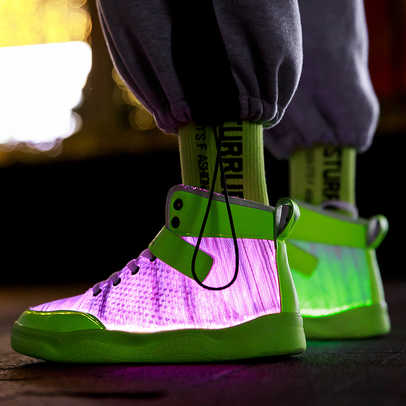 UncleJerry 2020 New Fiber Optic Shoes Big Boys Girls And Adult USB Rechargeable Glowing Sneakers Party Shoes Cool Street Shoes