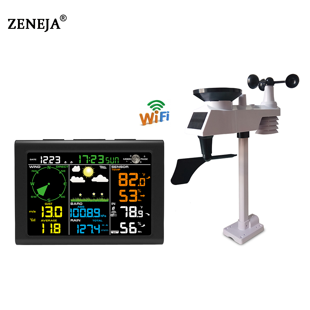 Weather Station with WiFi Wireless Outdoor Sensor Rain Gauge Wind Gauge Thermometer Humidity Professional Weather Forecast