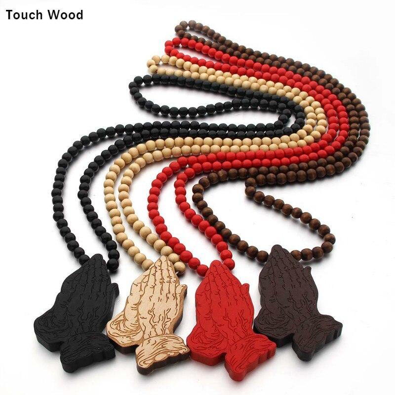 Wood laser engraving gesture pendant necklace