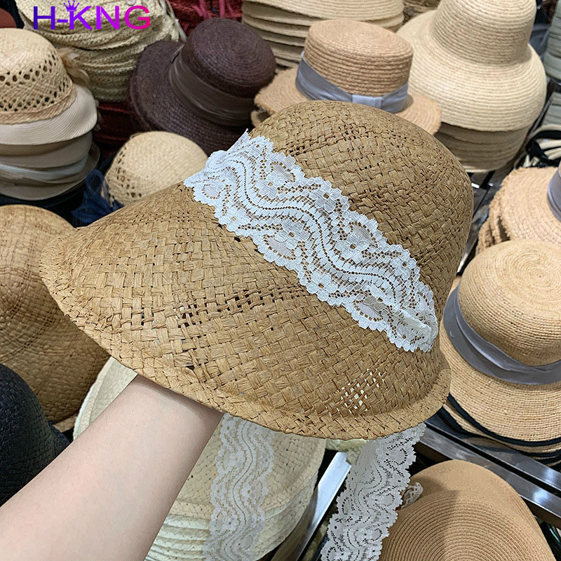 Countryside Lolita Fashion Lace Ribbon Paper Lady Hat Women Leisure Visors Cap Women's Straw Hat Women Beach Fashion Straw Hat