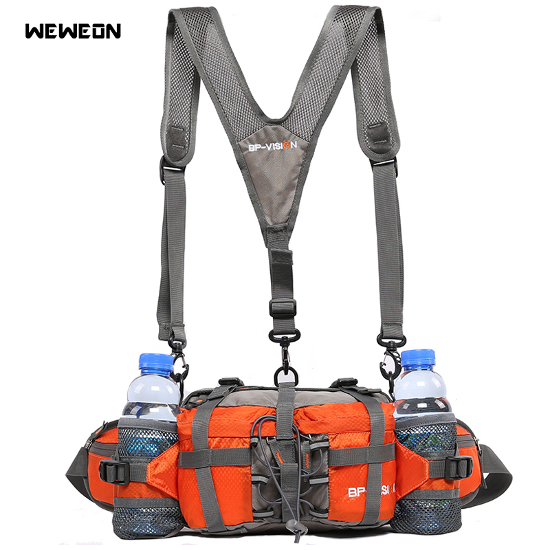 Outdoor Hiking Cycling Waist Bags 5L Bicycle Waist Pack With Water Bottle 800D Waterproof Nylon Mountain Climbing Pack Design