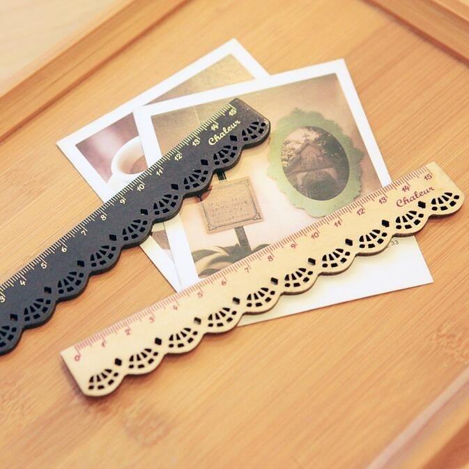 1pcs/lot NEW Vintage Lace Design Wood Ruler Bookmark 15CM Straight Ruler Children Papelaria Criativa