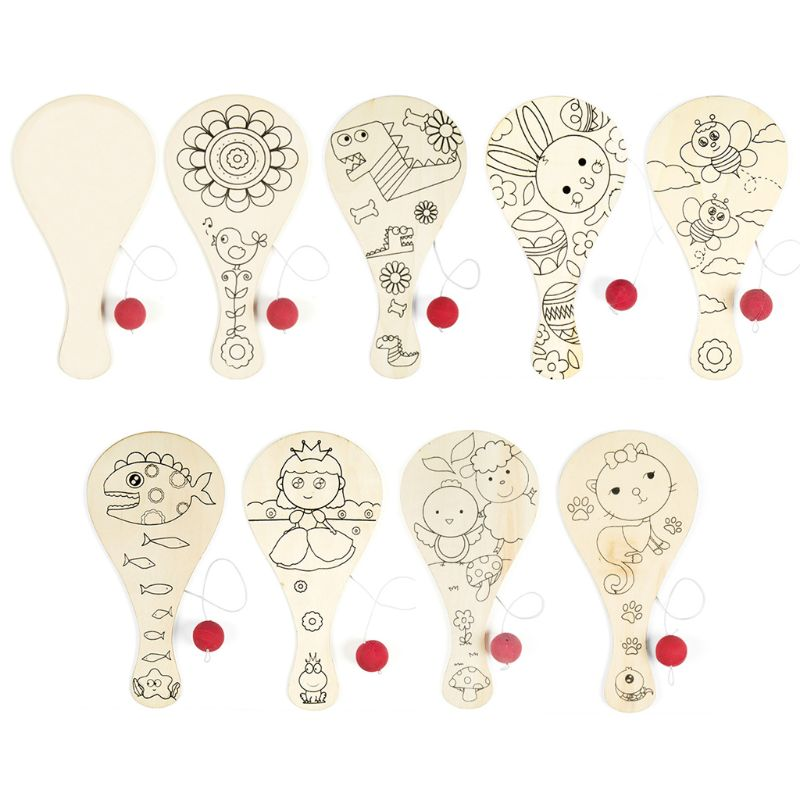 9pcs/set Hand-painted Wooden Racket Ball DIY Craft Cartoon Painting Graffiti Toy