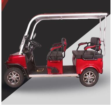 2020 New Design 4 Seater Adult Electric Golf Carts Motorized  Tandem Rickshaw Surrey Sightseeing Bicycle for Sale 3