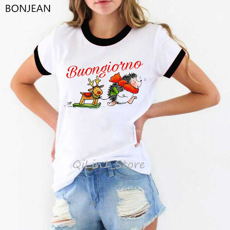 Carino Hedgehog design divertente t-shirt da donna harajuku kawaii animale stampa t-shirt bianca femme regalo Di Natale maglietta di base supera i t