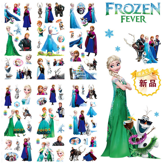 Disney Mickey Frozen Elsa Anna Removable Sticker Princess Scrapbooking For Decor Computer Notebook Cartoon Toy Stickers 200pcs