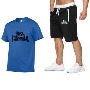 Image 3 - Summer Men Sportswear Sets Short Sleeve T shirts + Shorts New Fashion Casual Men Sets Shorts + 2 Piece T shirts