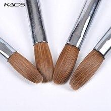 Kolinsky – brosse acrylique pour Gel UV, 1 pièce, stylo à sculpter, poudre liquide, bricolage, dessin d'ongles, plate, ronde, en bois rouge, Nail Art
