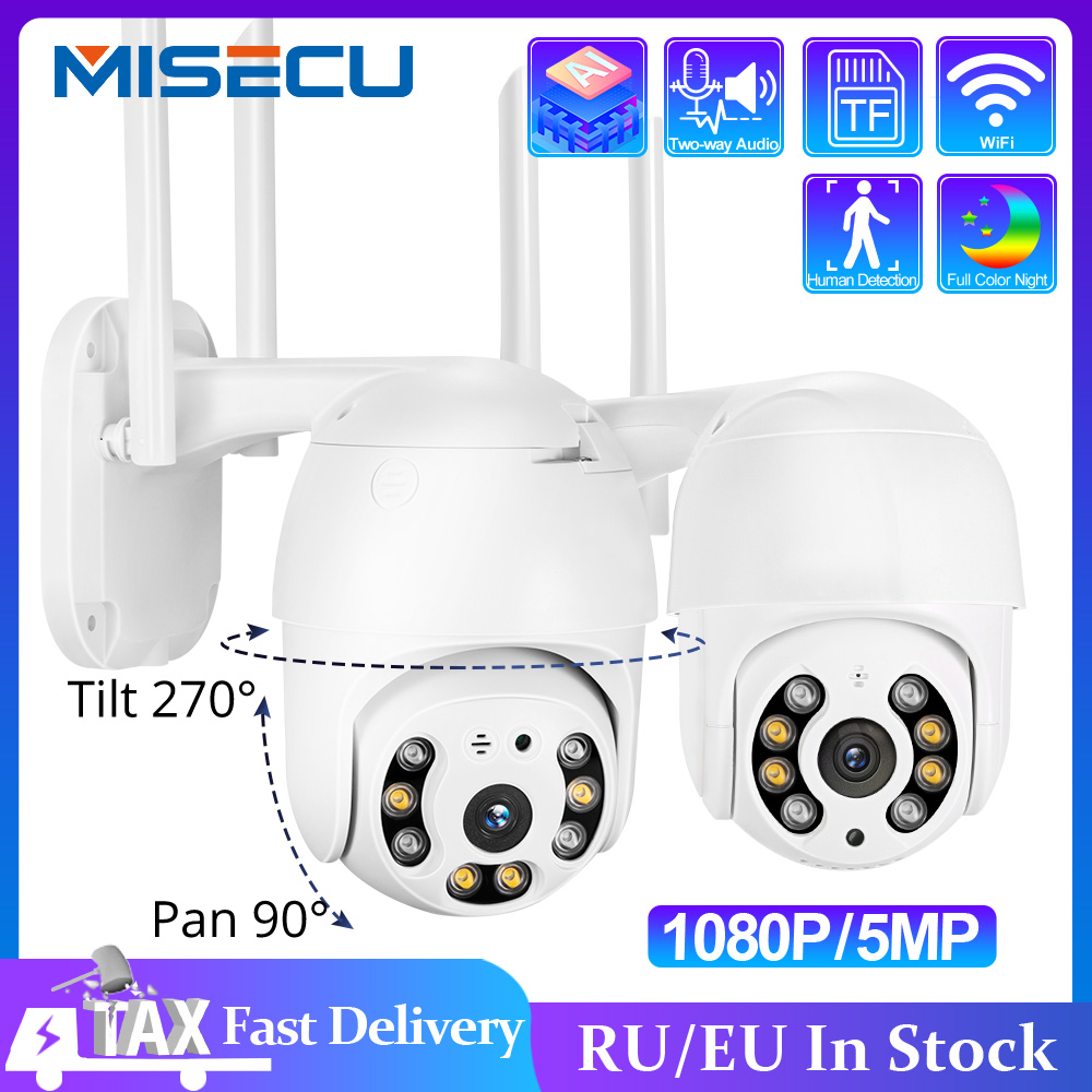 IP-камера MISECU H.265X PTZ с поддержкой Wi-Fi, 1080P, 5 Мп