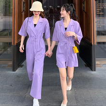 2020 Summer jumpsuit women turn down collar short sleeve pocket playsuit casual