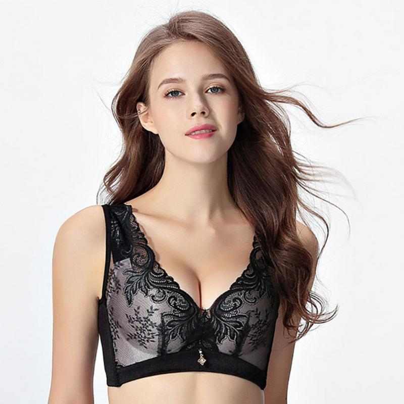 Women Wire Free Sexy Female Bra Soft V Neck Nylon Lace Brassiere Casual Push Up Sexy Widened Strap