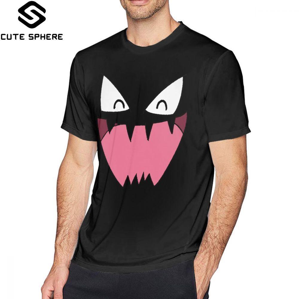 Gengar T Shirt Haunter Face T-Shirt Basic 100 Percent Cotton Tee Shirt Graphic Short-Sleeve Cute Mens Oversized Tshirt