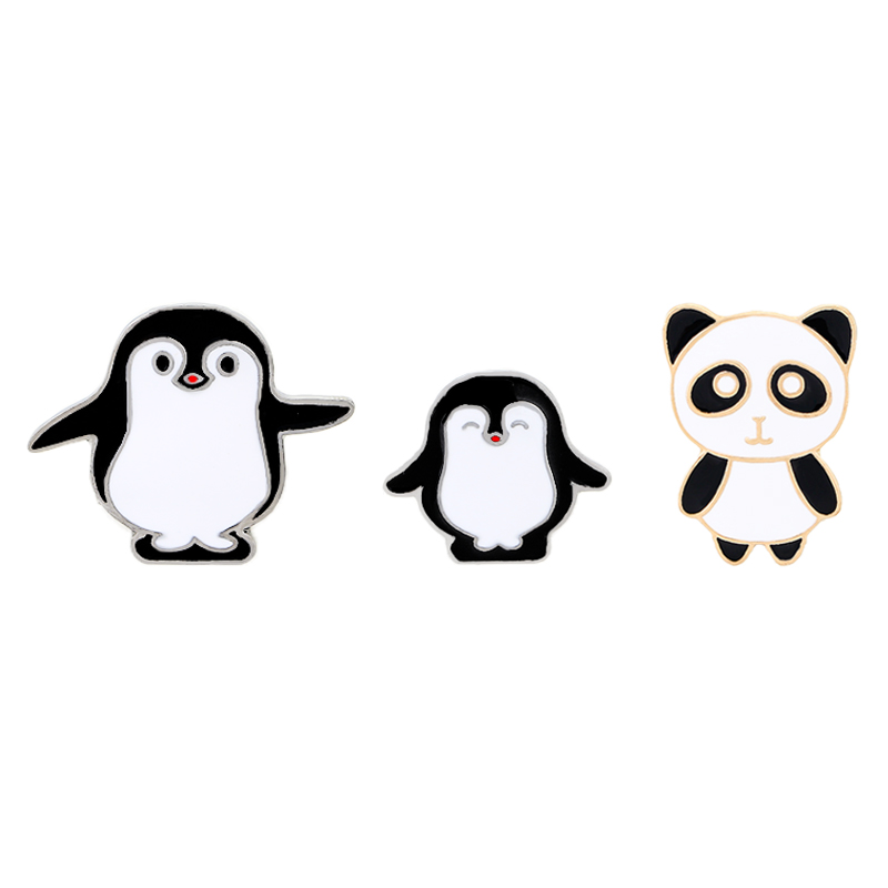 New Arrival Cartoon pins Panda pin Penguin pin Animal brooches Badges Hard enamel pin Animal jewelry Cute Gift for children in Brooches from Jewelry Accessories