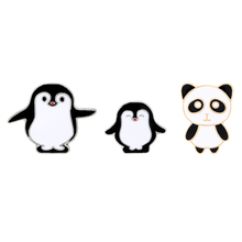 New Arrival Cartoon pins Panda pin Penguin Animal brooches Badges Hard enamel jewelry Cute Gift for children