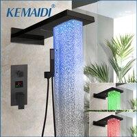 KEMAIDI Shower Faucet LED Matte Black Shower Rainfall Tub Bathtub Rain Square Shower Head Waterfall Shower Faucet Set