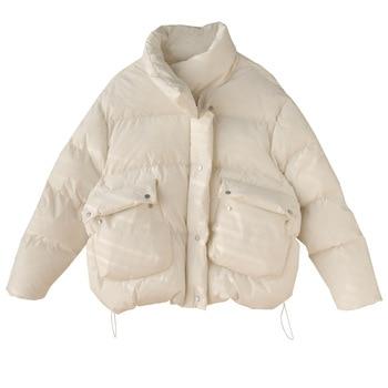 Manteau d'hiver court à manches longues et col montant pour femme, veste chaude, vêtement en coton, collection 2020 1