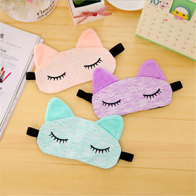 Cute Cartoon Eye Mask Lace 2020 New Korean Kawaii Travel Shading Sleep Eye Mask Small Fresh Exquisite Comfortable Blindfold 2