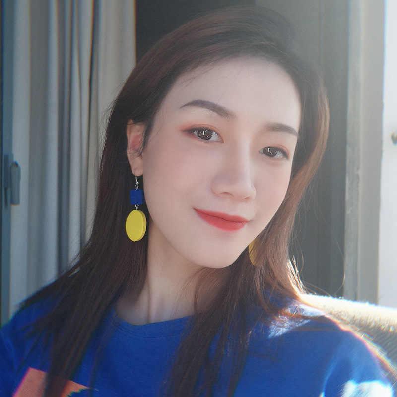 Nowy koreański kwiat gwiazda oświadczenie spadek kolczyki 2019 dla kobiet moda w stylu Vintage geometryczne akrylowe dynda wiszące kolczyki biżuteria