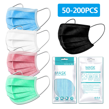 50-200pcs Face Disposable Masks 3 Layers Dust proof Mask Protective Cover Masks Black/White/Pink/Green/Blue Anti-Dust Face Mask