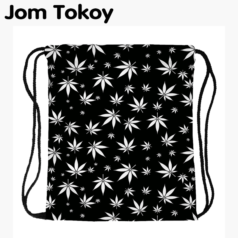 JomTokoy New Fashion Women Drawstring Backpack Tree Leaf Printing Travel Softback Women Mochila Drawstring Bags Skd29075
