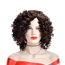 Alizing jerry curly hair wig black brown Intermediate color high temperature synthetic fiber for Africa woman 7028