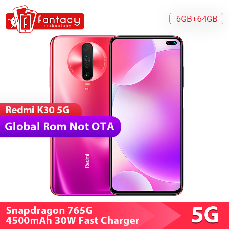 "In Stock Xiaomi Redmi K30 5G 6GB 64GB Smartphone Snapdragon 765G Octa Core 6.67"" 64MP Quad Camera 4500mAh 120HZ Fluid Display"