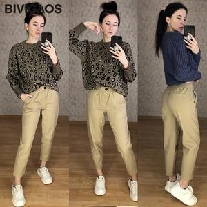 BIVIGAOS 2019 New Spring Women Clothing Straight Overalls Casual Harem Pants Korean Elastic Waist Triangle Buckle Cargo Pants