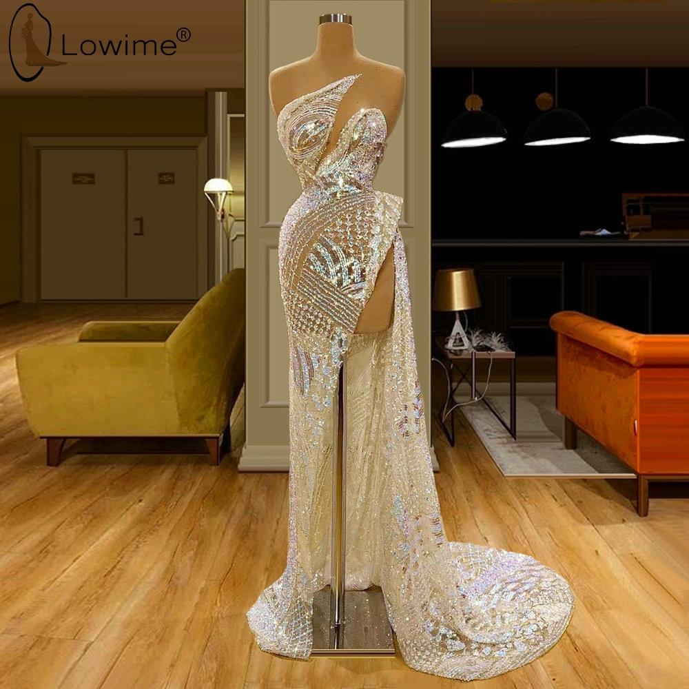 Robe De Soiree Sparkly Evening Dresses Illusion O Neck Middle East Saudi Arabia Prom Party Gowns Vestido De Festa