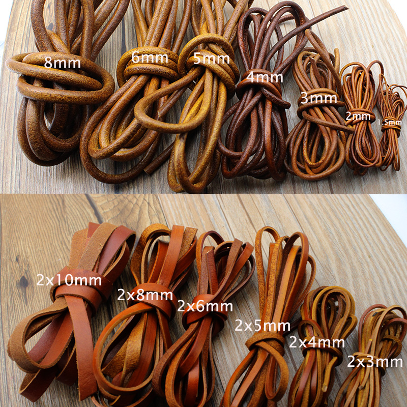 2M 2 3 4 5 6 8 Mm Genuine Leather Cord Flat Round Retro Yellow Brown Cow Leather Cords String Rope Bracelet Findings DIY Jewelry
