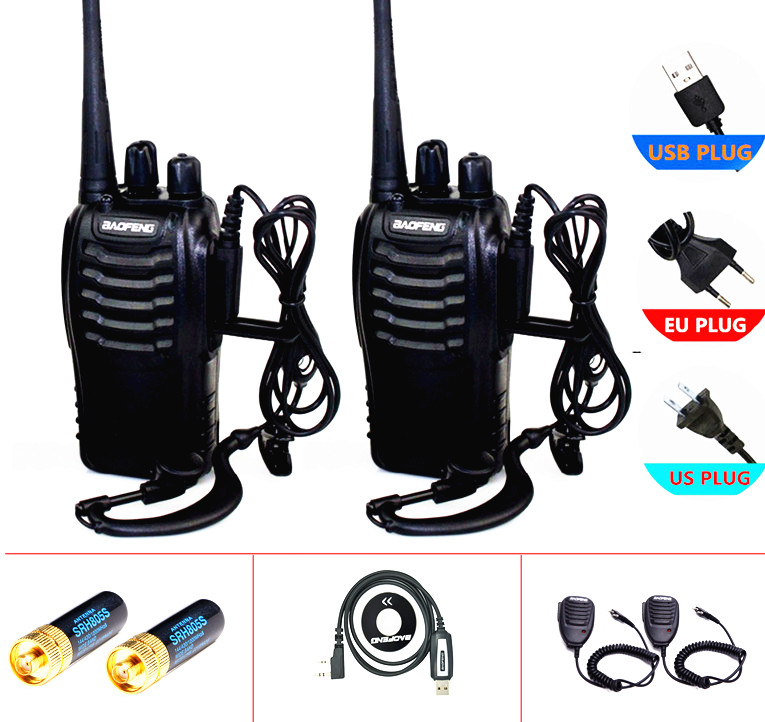 2 개 / 대 baofeng BF-888S 무전기 라디오 comunicador 5 와트 UHF 400-470 백만 헤르쯔 16ch cb 라디오 pofung 888s hf 트랜시버 bf 햄 라디오