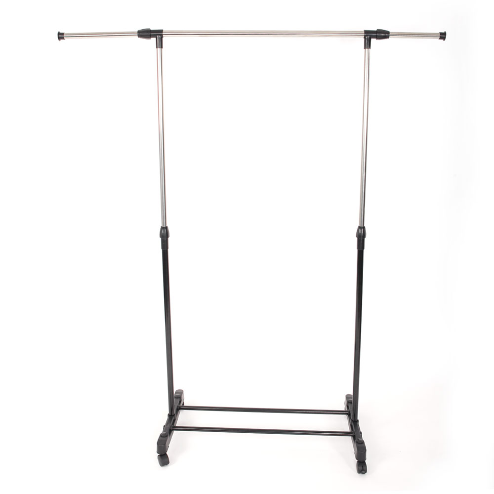 Adjustable Rolling Garment Rack Stainless Steel Clothes Rack Hanging Drying Rail Clothing Rack With Shoe Shelf YJ-02 - US Stock