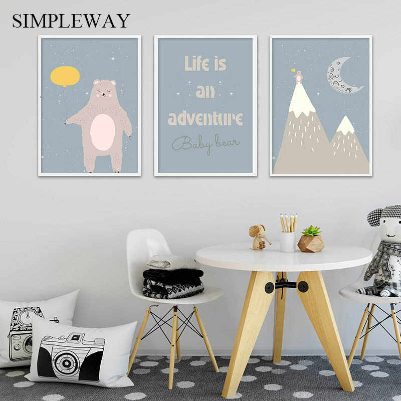 Bear Mountain Cartoon Poster Baby Nursery Wall Art Canvas Print Painting Nordic Kindergarten Kids Bedroom Decoration Picture