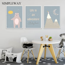 Bear Mountain Cartoon Poster Baby Nursery Wall Art Canvas Print Painting Nordic Kindergarten Kids Bedroom Decoration Picture(China)