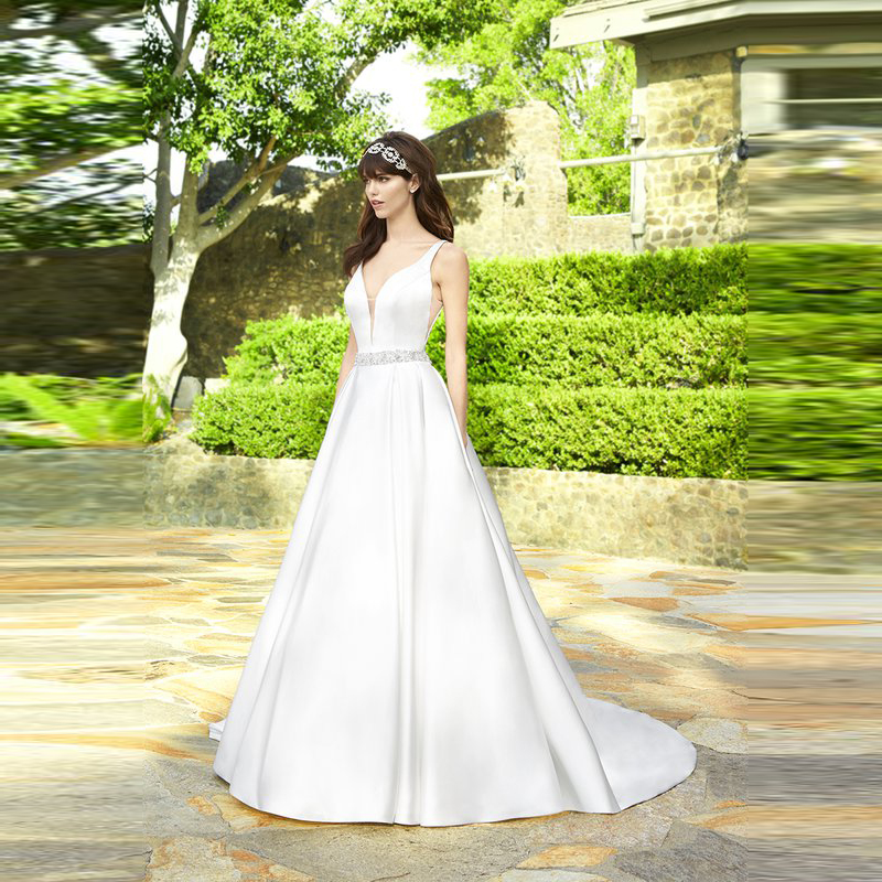 Latest Modern Simple A Line Satin Bride Wedding Dresses Backless Plunge V Neck Bridal Gowns Sleeveless Beaded Waist On Sale